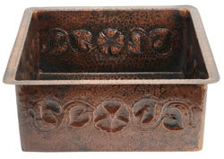 """Picture of 18"""" Square Copper Bar Sink - Floral by SoLuna"""