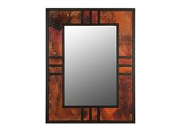 Mission Style Copper and Iron Trim Mirror